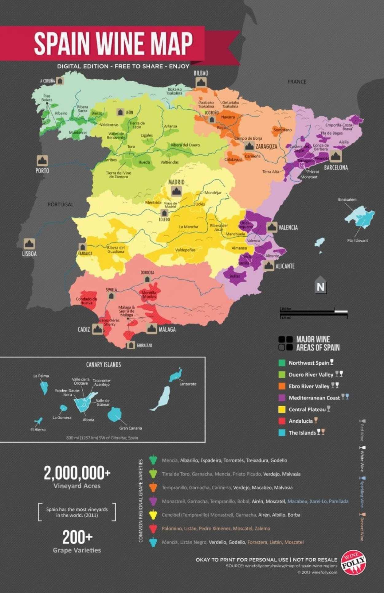Spain Wine Region Map wine folly