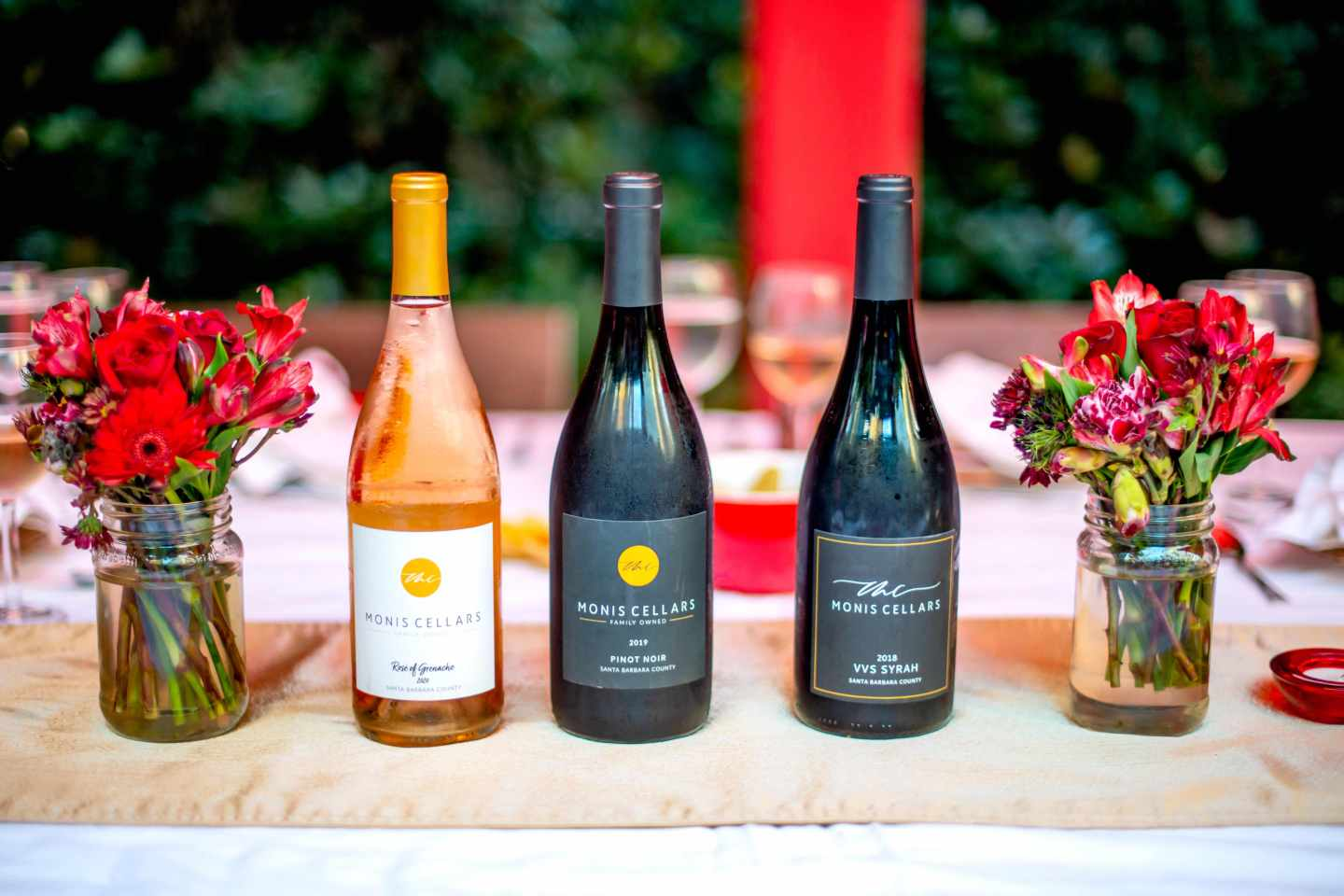 Monis Cellars - Rose, Pinot Not and Syrah. Fall Dinner Party Ideas.