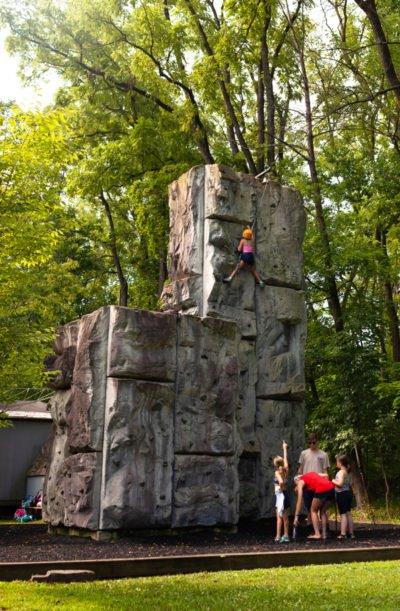 Kids rock climbing.