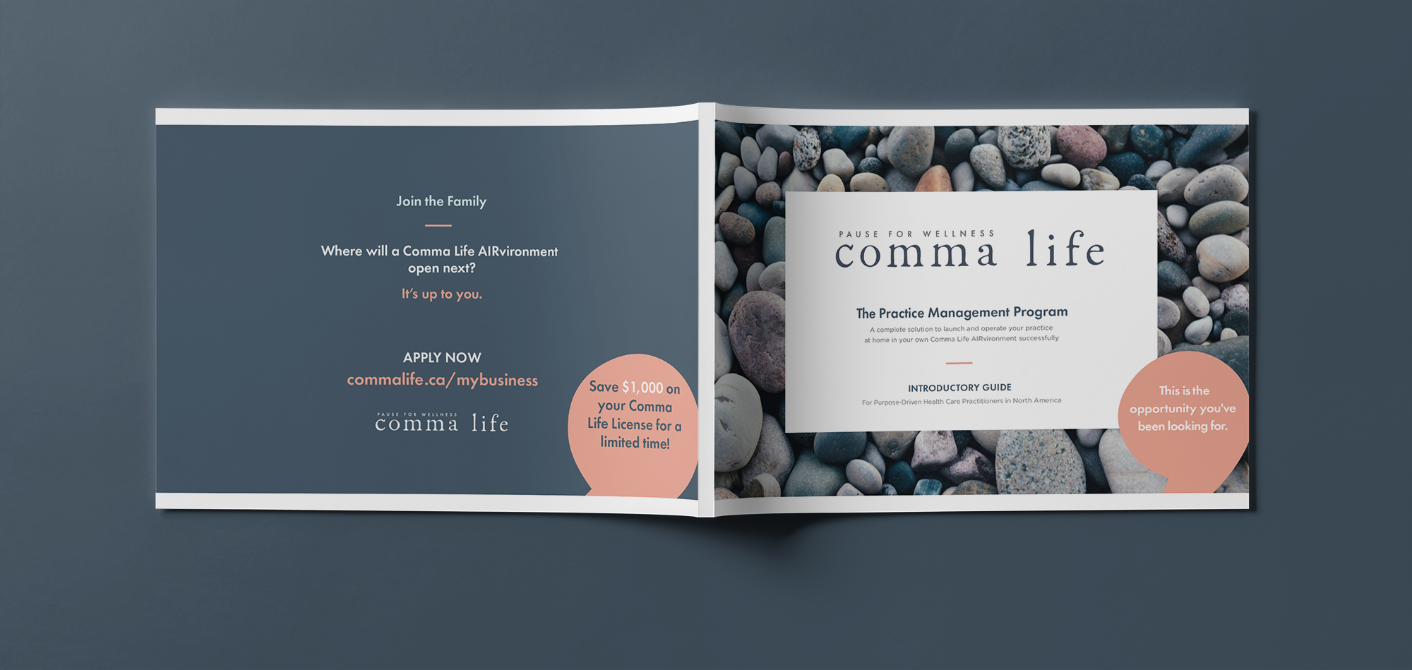 Comma Life Practitioner Editorial Design Booklet Spread