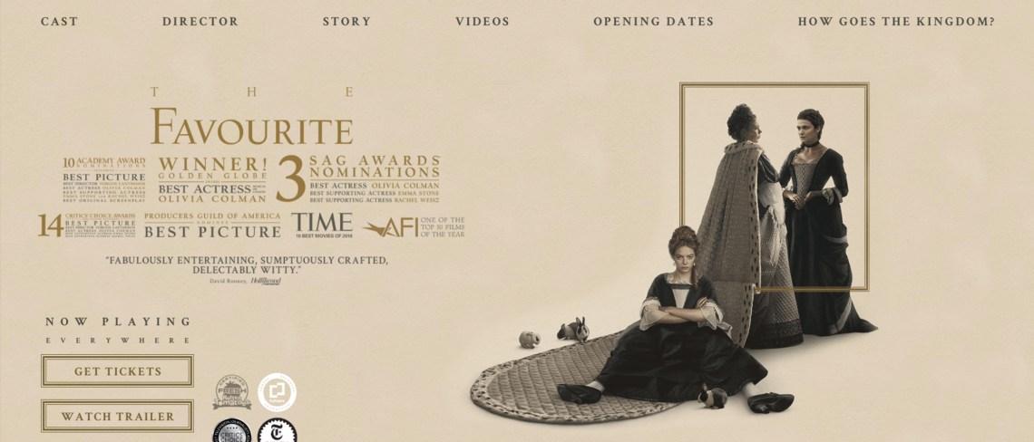 Screenshot of The Favourite movie website homepage.