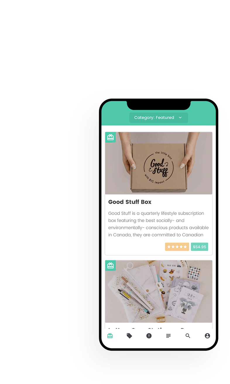 A Year of Boxes App Mockup; highlighting our mobile app development services