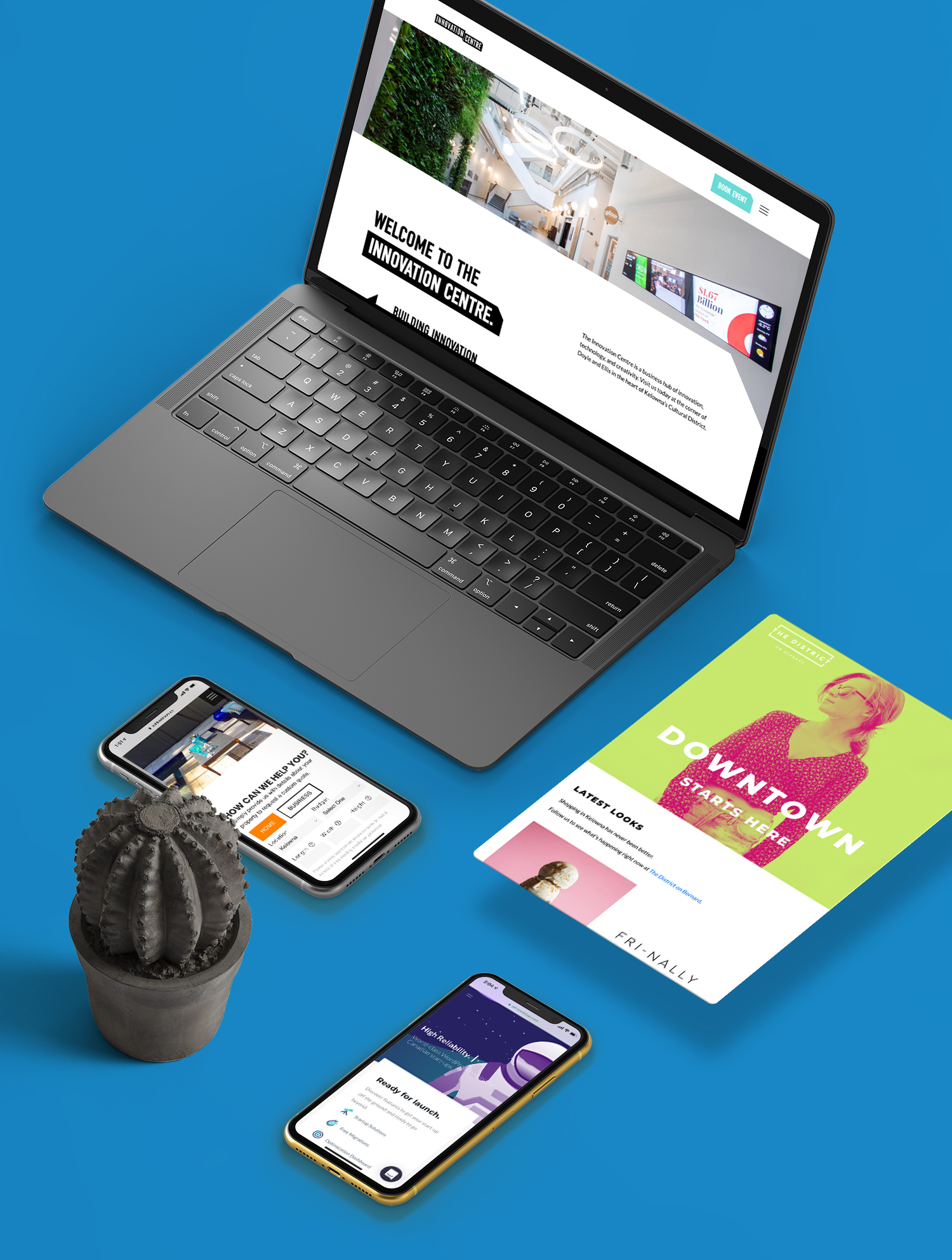 Twirling Umbrellas Web Design Mockups on a laptop and mobile phones with a blue background