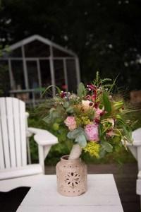 bruidsbloemstuk in vaas