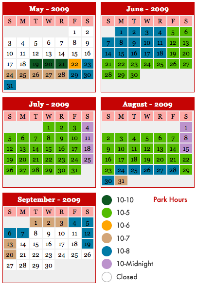2009 Valleyfair Park Hours