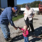 Picking up rocks for Grandpa.