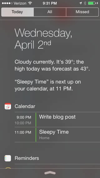 New Notification Center Layout