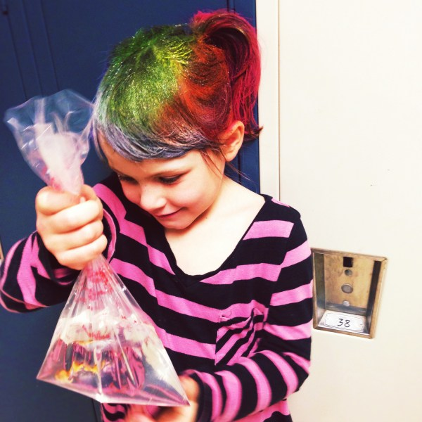 Carnival Fun with Rainbow Hair and a Fish