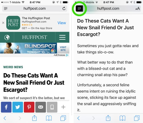 Before and After Reader View