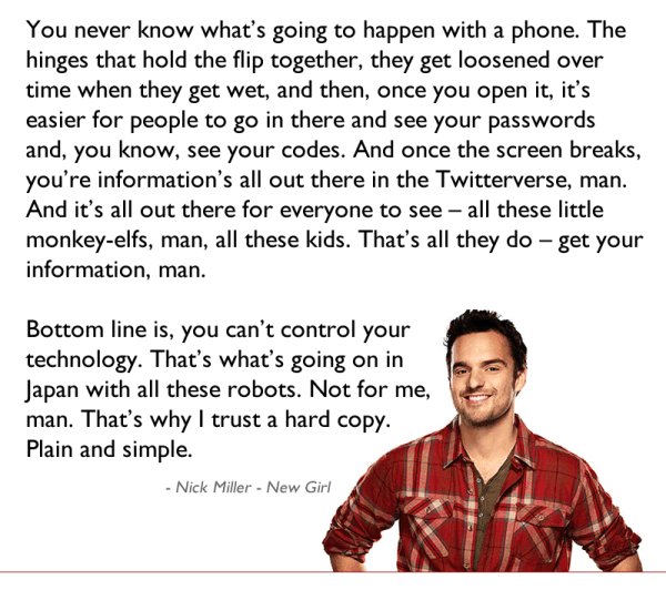 Nick Miller Cell Phone Rant
