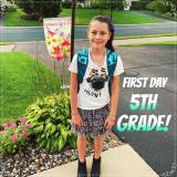 Lily's 5th Grade 1st Day Photo