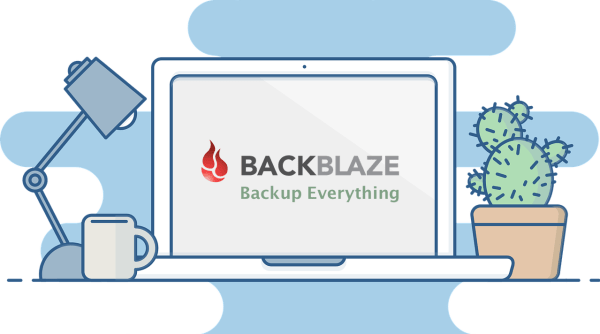 Backbaze logo on computer on desk