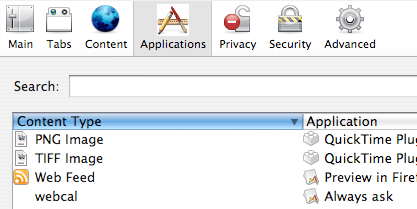 Firefox 3 Applications Settings