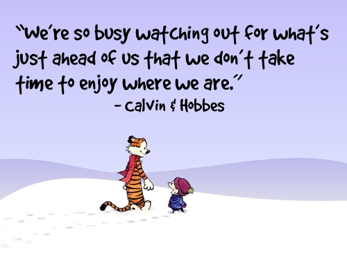 Take Time To Enjoy Where We Are