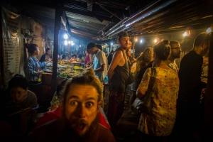 Buffet food night market with many tourists