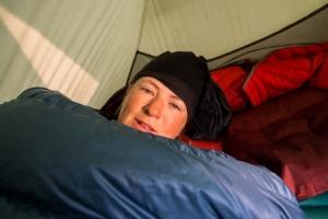 Sleeping in tent