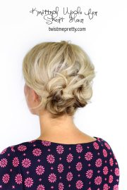 knotted updo short hair - twist