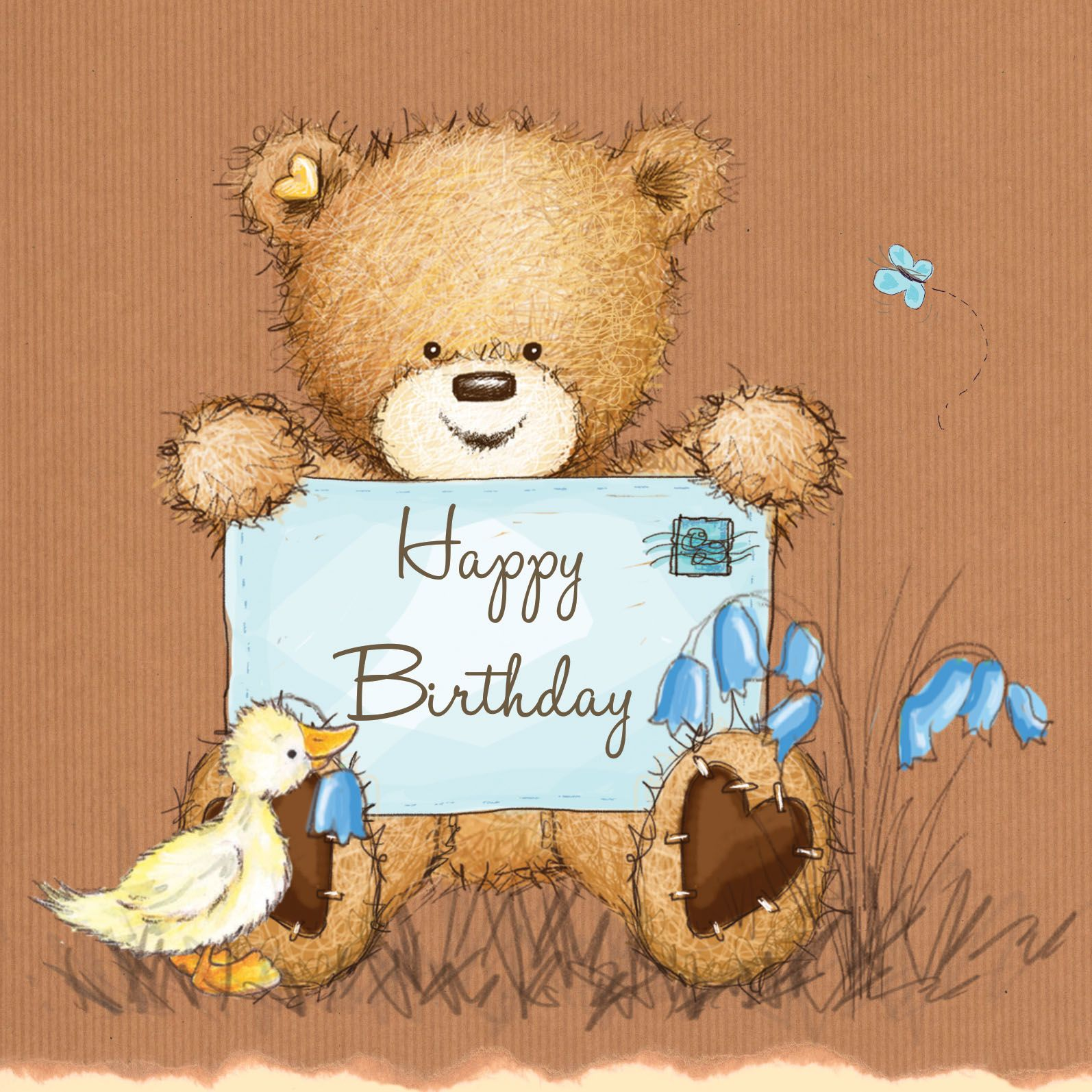 Birthday Bear With Pink Balloon Happy Birthday Card