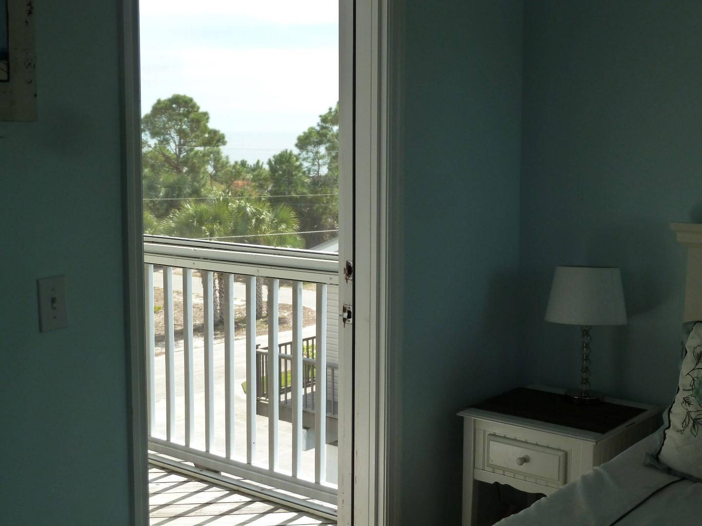 Three Palms 2nd Floor BDR-Blue Room- Top Level- Door to Screened Porch- View of Gulf of Mexico-10