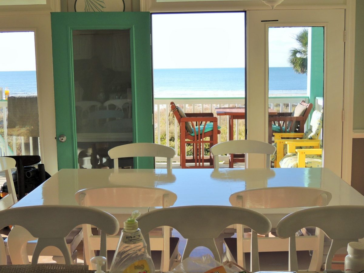 View of Deck and Gulf of Mexico Beach from Dining and Kitchen Area