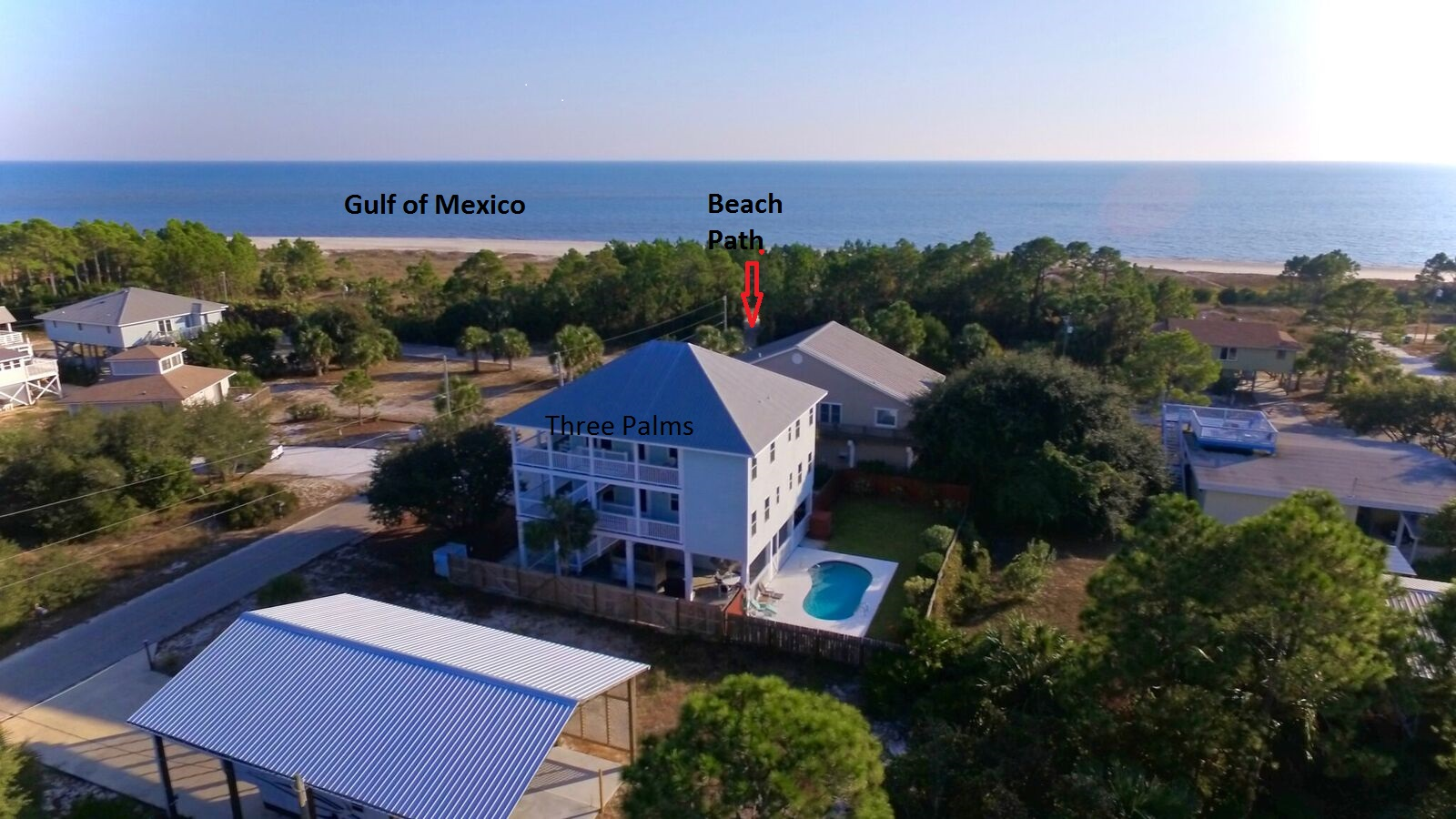 Drone Photo of Beach, Path to Beach, House and Pool