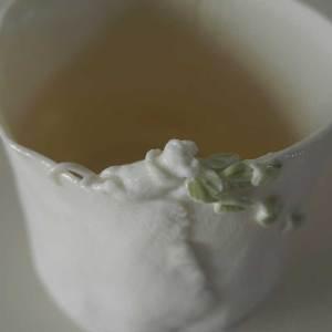 in white porcelain Viking warrior spoon sugar scoop