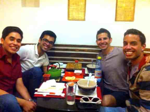 Enjoying sushi with Felipe & Sebastian