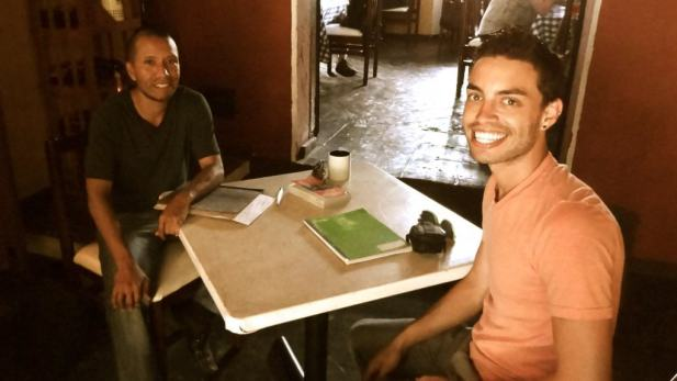 David with his Spanish teacher in Guatemala