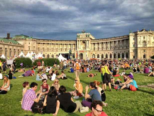 Pride Village as it fills up at Heldenplatz