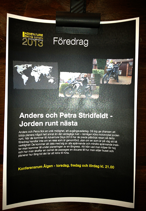 Poster at the Touratech event