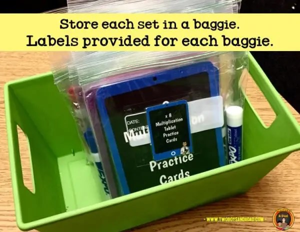 Multiplication Practice Cards Storage Baggies and Basket