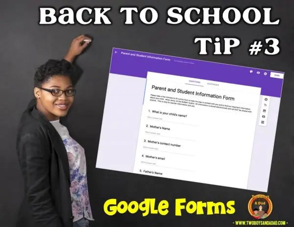 Back to School Tip Use Google Forms with parents