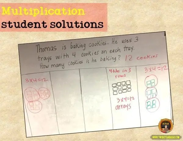 learning multiplication student solution examples