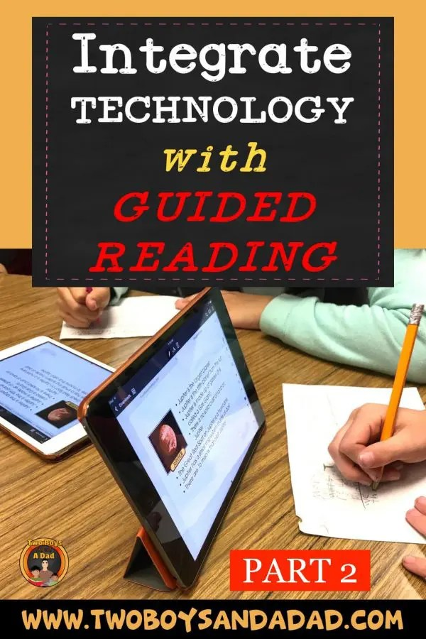 Integrate Technology with Guided Reading using iPads! I use my iPad Pro during guided reading for mini-lessons. I use PDFs for guided reading material on student iPads. #technology #ipad #teaching #elementary #guidedreading #twoboysandadad