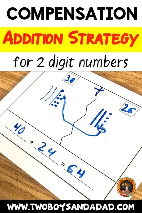 One addition strategy I teach in 2nd grade is to use the compensation strategy. It eventually becomes a mental math strategy, but to practice, we used these laminated charts. Download the chart and watch a video of a student using the strategy with 2 digit numbers. Click for more! #twoboysandada #math #addition #teaching #2ndgrade #strategy #mentalmath