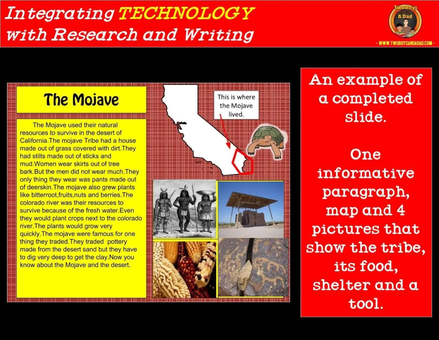 sample slide for a research project integrating technology