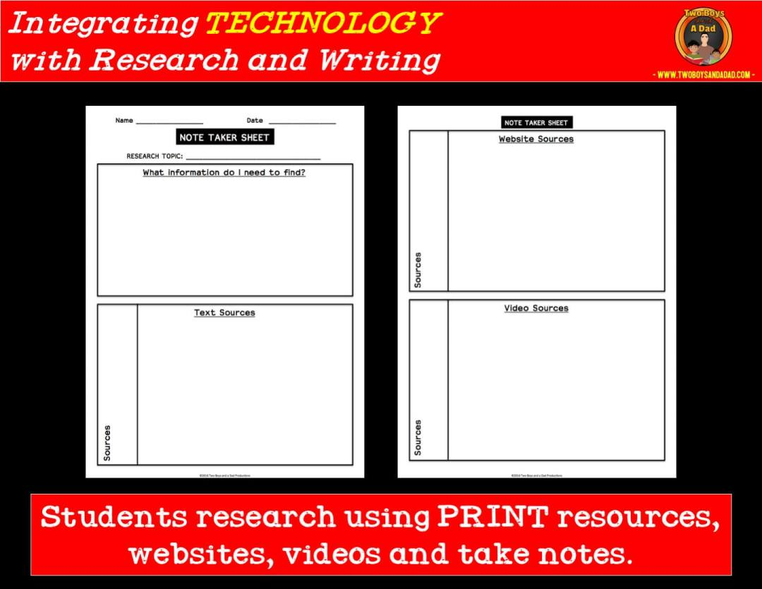 learning to take notes for a research project integrating technology