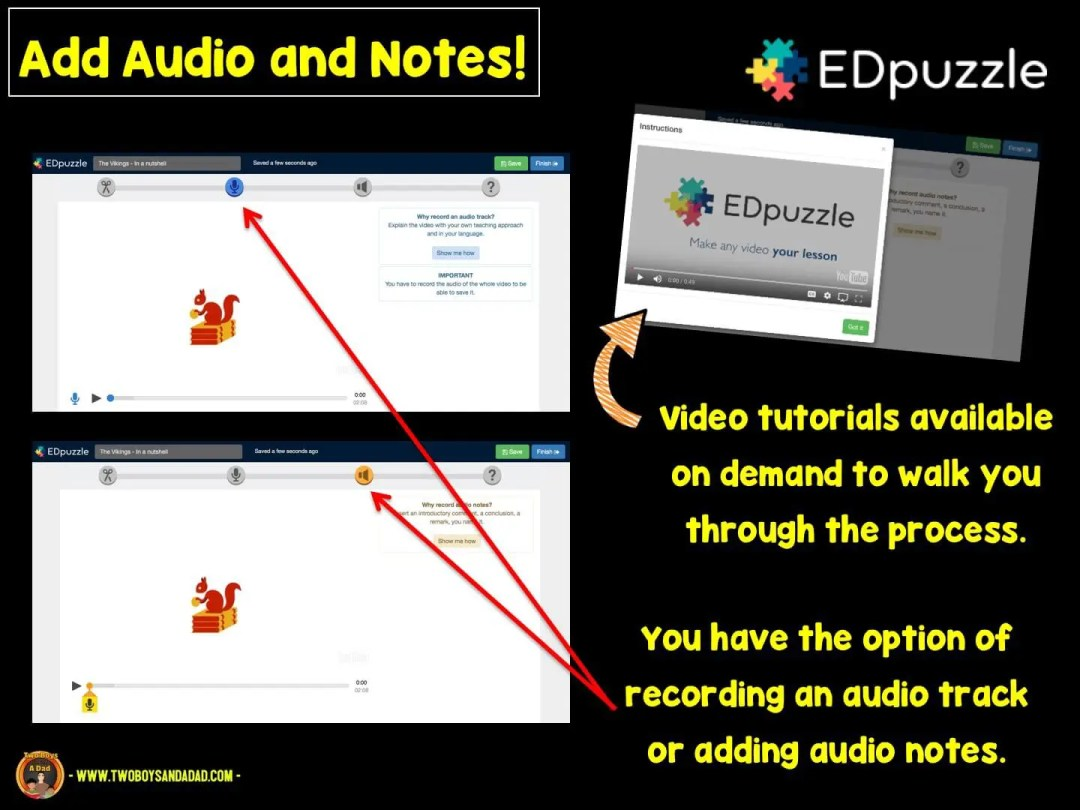 add your own notes or audio to the videos