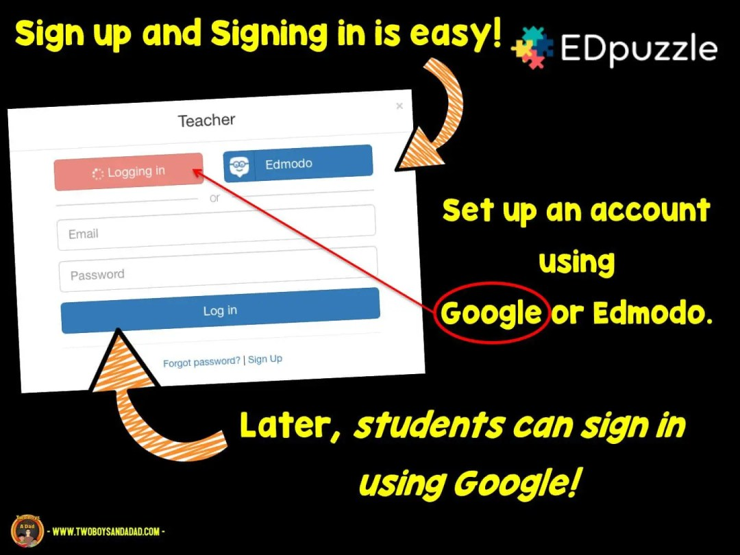 sign up with Google or Edmodo
