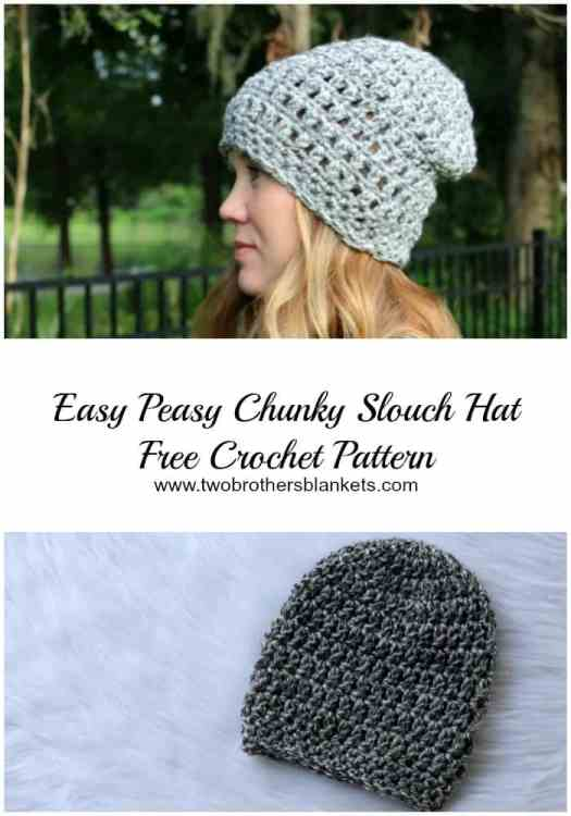 Easy Peasy Chunky Slouch Free Crochet Pattern Two Brothers Blankets
