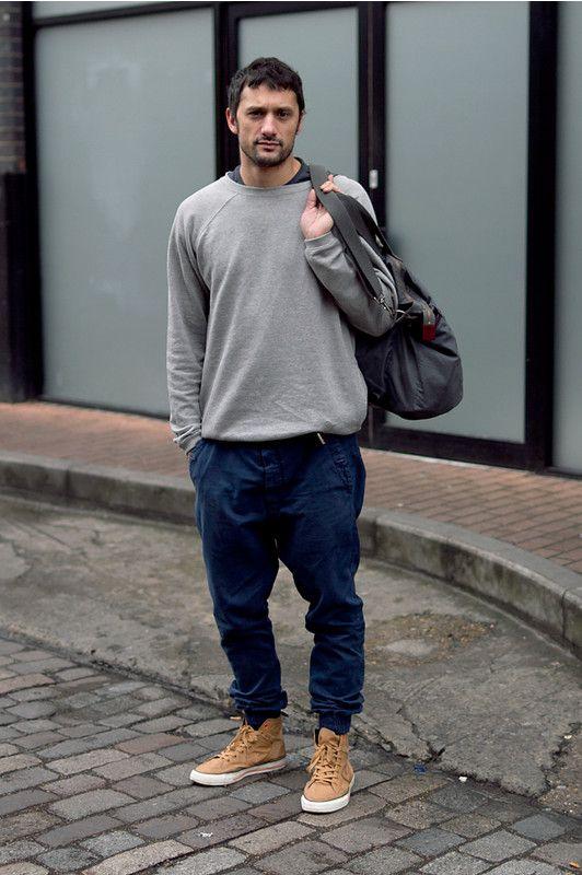 grey-crew-neck-sweater-navy-sweatpants-tan-high-top-sneakers-charcoal-duffle-bag-original-6447