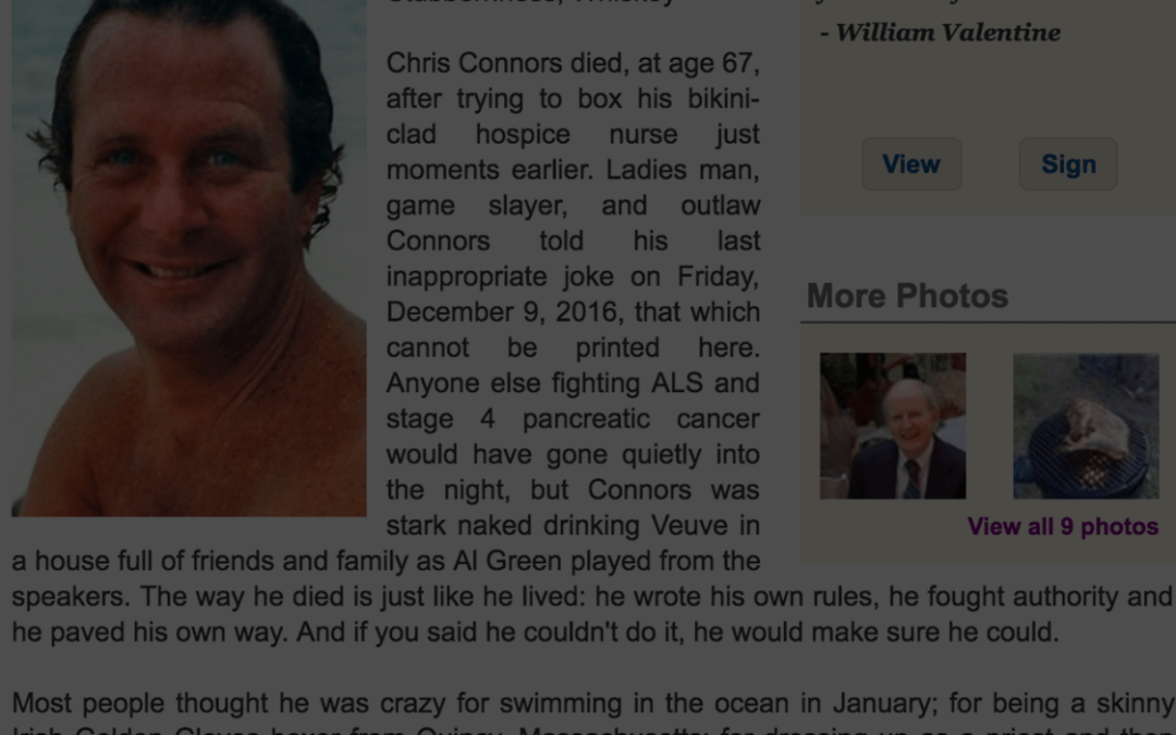 I Hope My Life/Obituary Is Half As Awesome As Chris Connors'