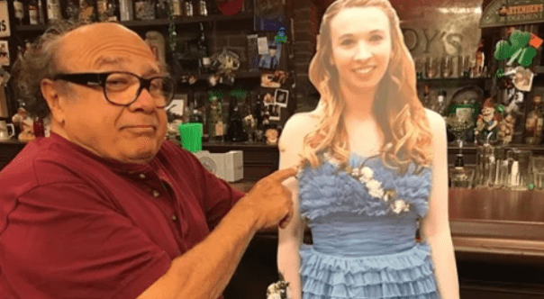 Remember the Teen Who Took Danny Devito's Cutout to Prom? He Took Her Cardboard Cutout to Paddy's Pub