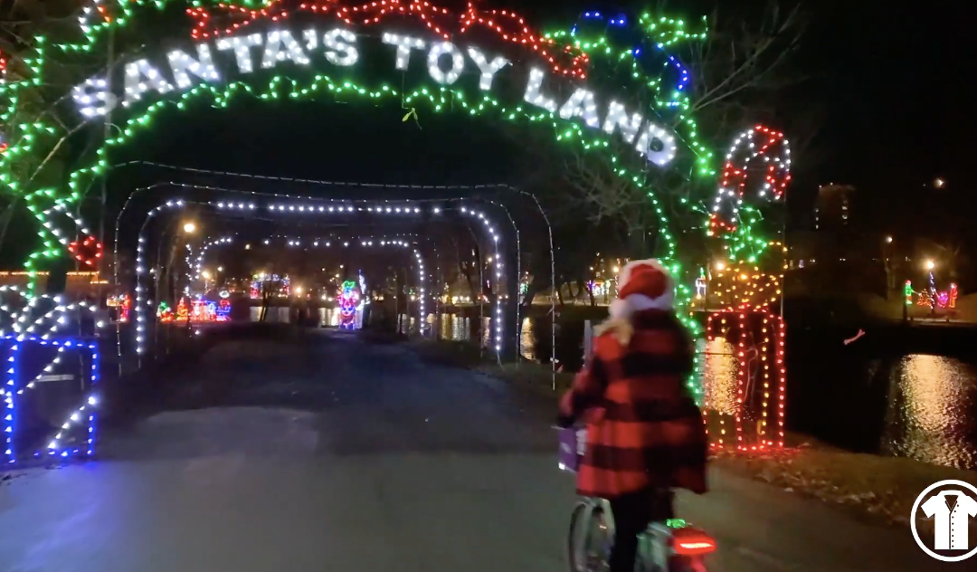 Katie White Claus Bikes Through Capital Lights in the Park