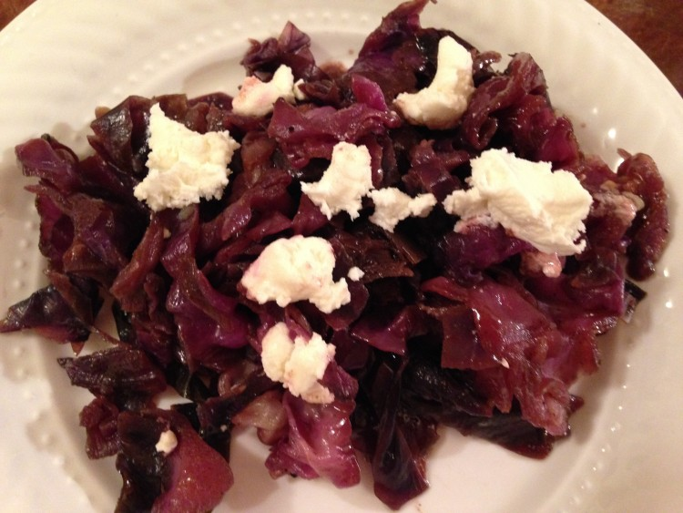 red cabbage with goat cheese