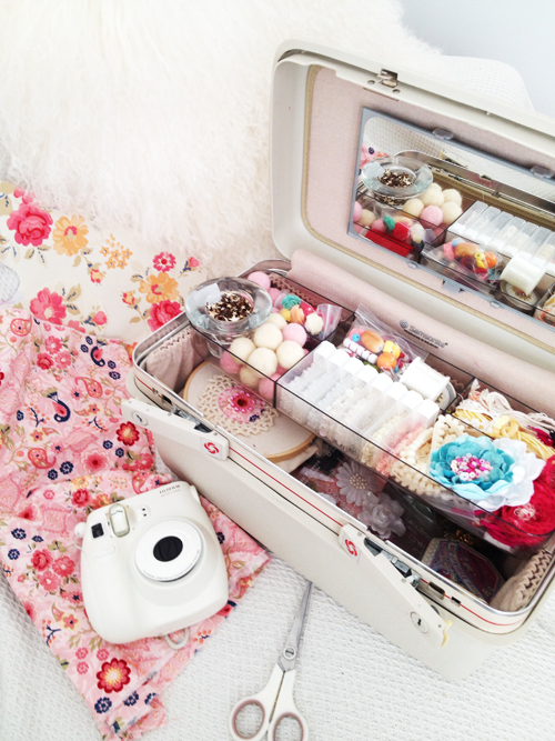 Craft Supplies Floral Print fabric Prima Flowers and Fuji Instax Camera