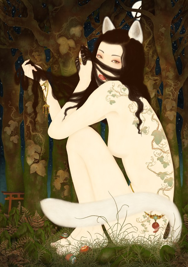 A painting by Senju depicting a kitsuen, a Japanese mythical fox that has assumed the shape of a beuatifull woman.