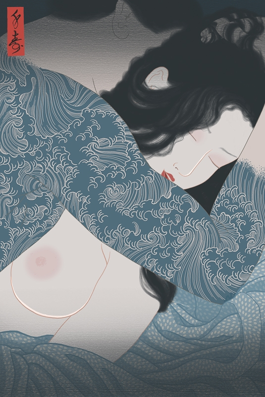 A painting of a man making sensual love to a woman. The erotic aspect of Japanese traditional tattoos is portrayed in blue colours.