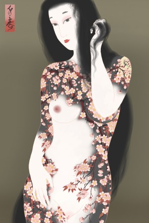 Sakura tattoos covering the skin of this sensual and beautiful young woman. Tattooed in the traditional Japanese style called Irezumi.