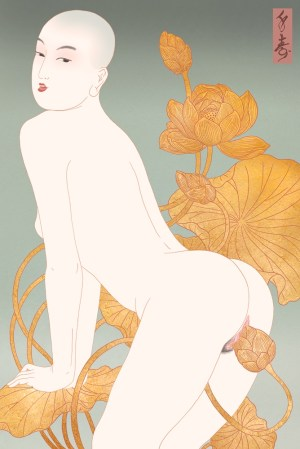 This erotic painting with Buddhistic undertones shows a young and bald woman pleasuring herself using the bud of a golden lotus flower.
